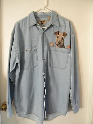 Airedale Terrier Hand Painted Denim Shirt Large