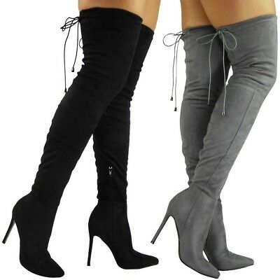 Womens Ladies Thigh High Over The Knee Boots Stiletto Heel Lace Up Shoes Size