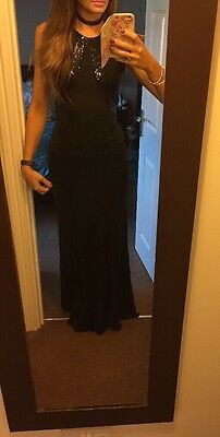 Long Black Sequin Evening/Christmas Party Dress 8/ Small