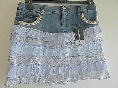 Bnwt Monnalisa's Paesagg Ino Denim And Ruffle Skirt Age 16 30W