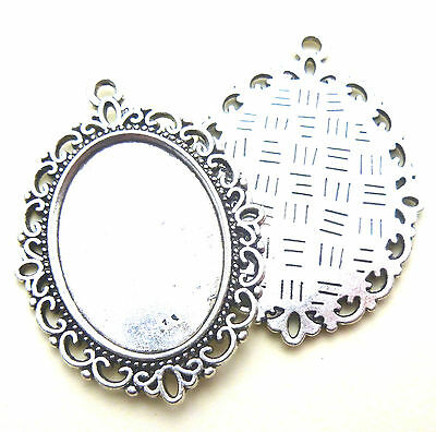 5 ANTIQUE SILVER TONE OVAL CAMEO CABOCHON SETTINGS 25 x 18mm Tray Blanks
