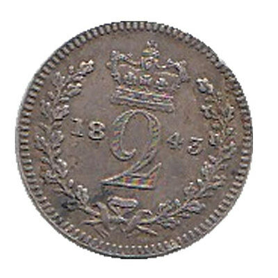 1843 Queen Victoria Silver Twopenny Coin