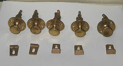lot of 5 Vintage ornate brass cabinet latch knob