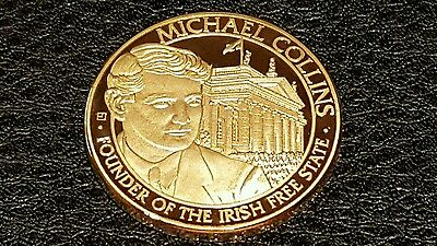 Commemorative Gold Plated Coin  Michael Collins Founder Of The Irish Free State