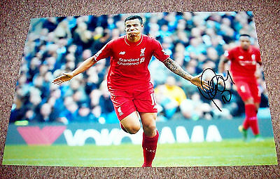 PHILIPPE COUTINHO LIVERPOOL FC HAND SIGNED PHOTO AUTHENTIC GENUINE + COA - 12x8