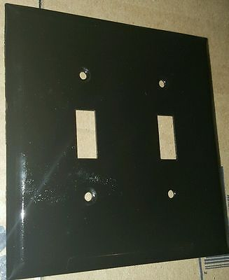 Vintage Metal Painted Black Double Light Switch Plate & Outlet Cover