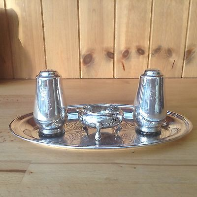 Vintage Silver Plated Cruet Set On A Tray