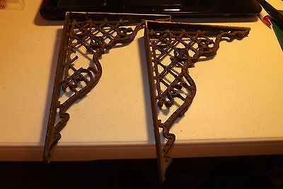 "Vintage Heavy Metal Shelf Brackets 6-3/4"" x 9"" as Pictured"