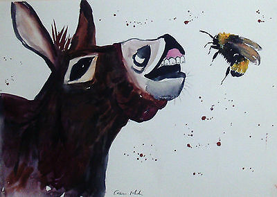"Fridge Magnet,Silly Donkey  & a bumble Bee large  4.25"" by 5.5"""