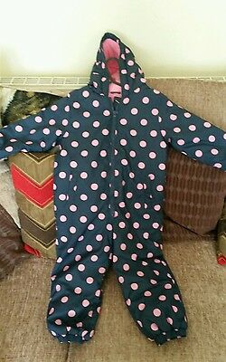thick winter snowsuit girls pink blue spotty 3-4 years