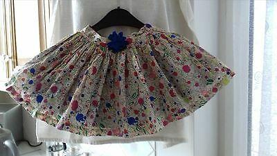 Girls M&s Lined Cream Flowered Skirt Age 2 - 3 Years M & S Autograph -Elastic