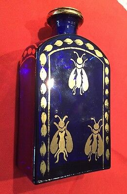 Baron Stiegel Style Cobalt Blue Glass Bottle W/golden Bees . Mint!