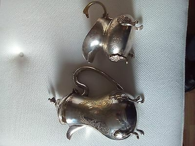 silver coffee pot and milk disposer  vintage
