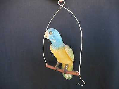 Vintage Plastic Collector Parrot perched on Swing - Cracked & Faded