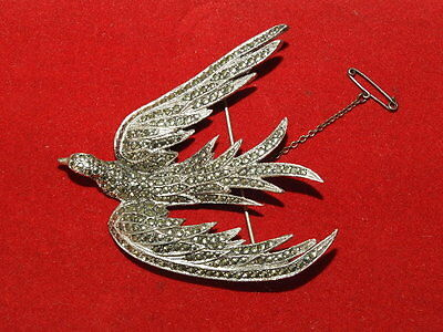 Vintage Large Silver Plated Marcasite Bird Pin Brooch.