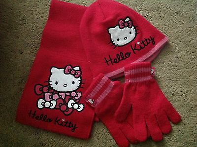 Hello Kitty hat, scarf & gloves set by George size 4-8 years