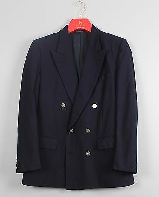 Burberry's Vintage Navy Blue Wool Double Breasted Suit Jacket 40