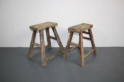 Pair Of Vintage Rustic Antique Wooden Stools Milking Large P37