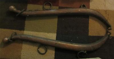 Primitive Antique Wood & Metal Plowing Haines with Brass Ball Ends - Very Good