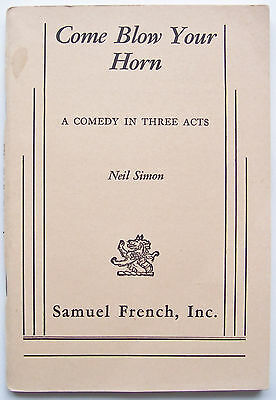 """Vintage Stage Play Script for """"COME BLOW YOUR HORN""""-Samuel French Acting Edition"""