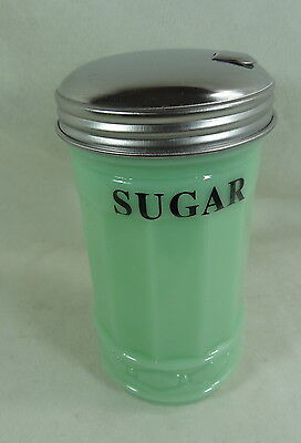Restaurant Style Jadeite Sugar Shaker With Metal Flip Top Poring Spout Lid