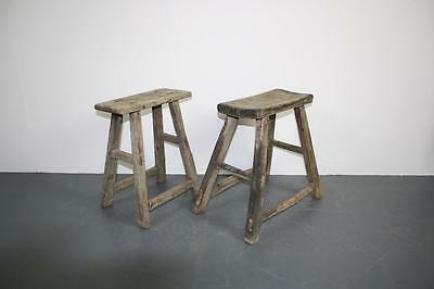 Pair Of Vintage Rustic Antique Wooden Stools Milking Large P36
