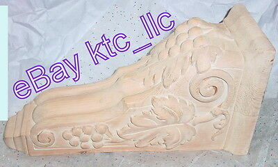"lg. ORNAMENTAL grapes / leaves WOODEN CORBEL SHELF 7 3/4""x5 3/4""x15"" whitewashed"