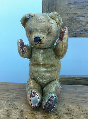 """VINTAGE 1950s 15"""" CHAD VALLEY JOINTED MOHAIR TEDDY BEAR WITH  PADS"""