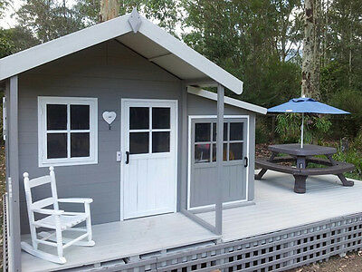Large Solid HARDWOOD Timber Kids Cubby House - Del Available + FREE kitchen set