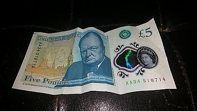 VERY rere £5 note AA34