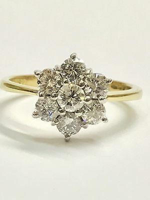 1.00ct Diamond Flower Cluster Ring - G/ SI - 18ct Yellow Gold - Size P - 4.02g