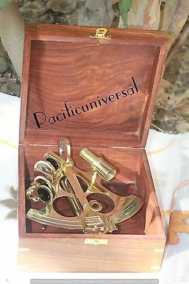 """Solid Brass Handmade Vintage Sextant 6"""" With Wooden Box  Decorative Gift Item."""