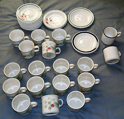 Job lot of WEDGWOOD RASPBERRY CANE TEA CUP AND SAUCER 38 pieces BUNDLE