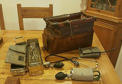 genuine 1930's surgeons gladstone bag complete with surgical medical instruments