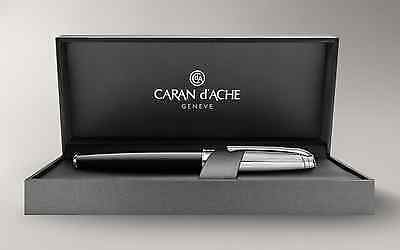 Brand New Authentic Caran d'Ache Leman Bicolor Black Fountain Pen Silver Plated