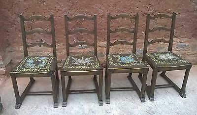 Set Of 4 Arts And Crafts Oak Dining Chairs Chairs
