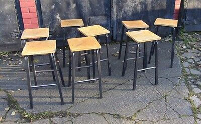 Vintage School Lab Art Stools - Cafe Bar Restaurant Home use Metal Legs Ply Top