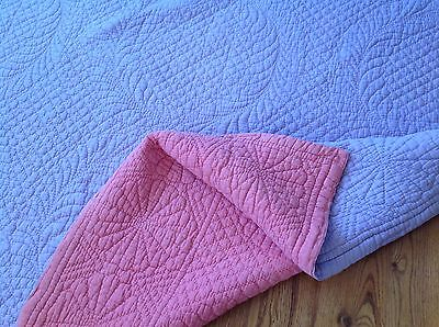 """Hand stitched Durham/Welsh quilt,lilac,pink reversible.Art deco.6'11"""".Sofa throw"""