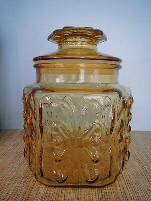 MCM Honey Amber Gold Yellow Imperial Glass Atterbury Scroll Kitchen Canister Jar