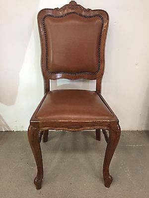French Oak Leather Dinning Chairs Set Of 6 Six