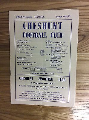 Cheshunt v Ilford ( F A Amateur Cup ) 10/1/1970 programme