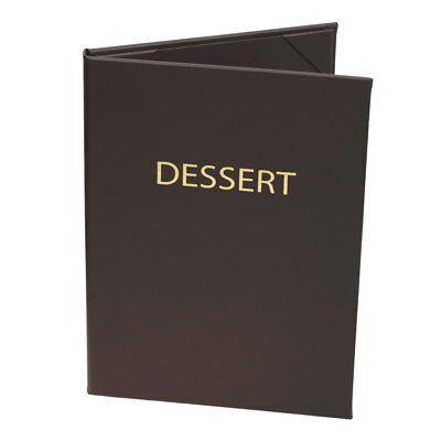 "(10pk) Dessert Menu Covers, 2-panel, 5.5"" x 8.5"" insert, Brown Faux Leather"