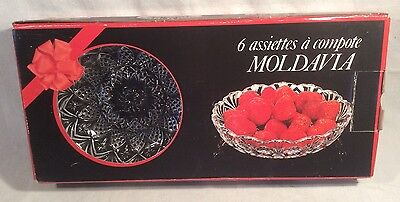 Boxed Set Of 6 French Veropa Moldavia Pressed Glass Fruit/Dessert Bowls