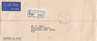 E 383 Nauru 1969 registered airmail official cover to UK