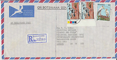E 452. Botswana  1982 govt registered cover bird stamps to UK