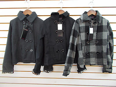 Girls  Therapy Charcoal, Black, or Plaid Pea Coats Size S(4) - XL(6X)