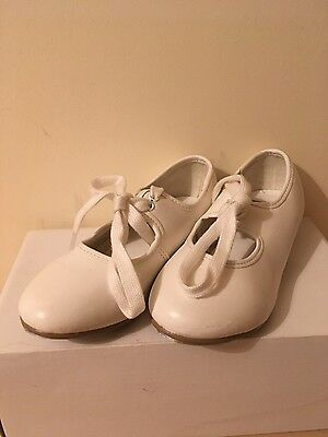 girls size 9 1st position pink ballet and white tap shoes