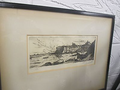 Antique Engraving / Etching signed Charles a smith 'C A Smith Tynmouth' original