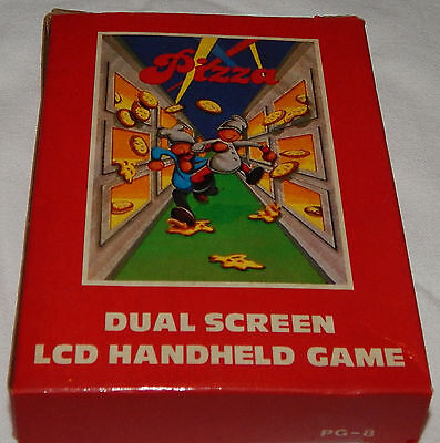*vintage Pizza Dual Screen Electronic Lcd Handheld Game & Time/watch Box/boxed*