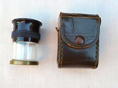 Antique Leather Cased Field Glass Microscope - Flea Trap – Map & Picture Veiwing